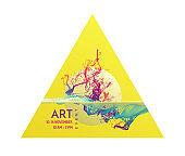 Art event invitation template. Water splash imitation. Abstract background. 3d vector illustration.