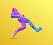 Running man or marathon runner. 3D human body model. Design for sport. Vector illustration composed of particles.
