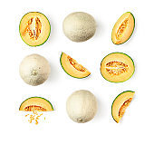 Melon cantaloupe collection and creative pattern