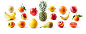 Different fruits collection and creative banner