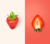 Fresh strawberry, color card and creative layout