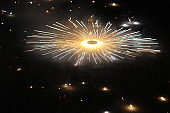Colorful fireworks in night, bright sparkler candle for Christmas or new year Festival