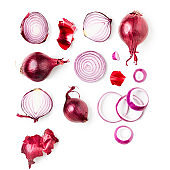 Red onion collection and creative pattern