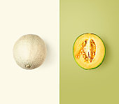 Cantaloupe melon, color card and creative layout