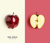 Fresh red apple, color card and creative layout