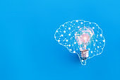 Brain and lamp,great idea and innovation concept.