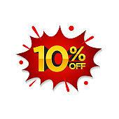 10% Discount, Sale pop art comic style