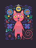 Cat and flowers. Greeting or invitation card. Banner, poster template. Birthday card. Flat design