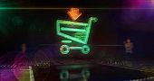 Digital shopping cart symbols 3d illustration