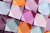Paper folded in geometric shapes, abstract background
