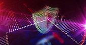 Cyber shield symbols 3d illustration
