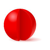 Red sphere with cut out piece. White template