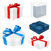 Gift boxes with red and blue ribbons