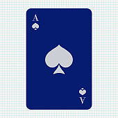 Ace of Spades. Blue icon on lined paper background