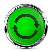 Green push button with refresh sign. Round web icon