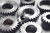 Gears mechanism on metal background. Industry