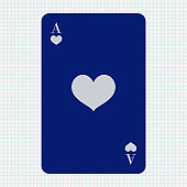 Ace of Hearts. Blue icon on lined paper background