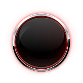 Black button with chrome frame. Glass button with red glow
