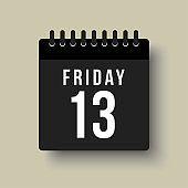 Vector icon day page calendar, date Friday 13