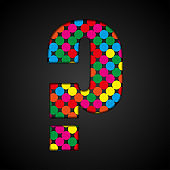 Vector question mark made colorful sequins glitter