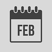 Vector icon day calendar, winter month February
