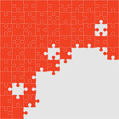 Vector banner made pieces puzzle jigsaw, frame