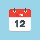 Icon calendar day 12 June, summer days of the year