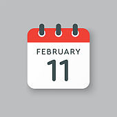 Icon day date 11 February, template calendar page