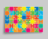 Vector background made pieces puzzle jigsaw, frame
