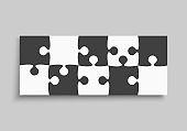 Vector horizontal banner piece puzzle frame jigsaw