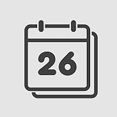 Vector icon calendar day, number 26, line flat
