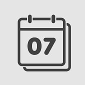 Vector icon calendar day, number 7, line flat