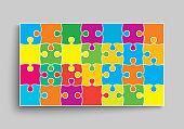 Vector banner color piece puzzle frame jigsaw