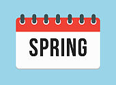 Vector square icon page calendar - season spring
