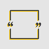 Quote square, text with bracket, vector background