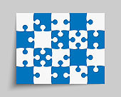 Vector background blue piece puzzle frame jigsaw