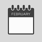 Icon page calendar, month February, to-do list