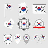 South Korea flag icons set, flag of Republic of Korea
