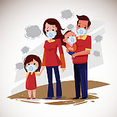 Family with mask for protect health from air pollution. pm1, pm2.5 or pm10