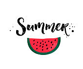 Summer calligraphy inscription and red ripe watermelon slice isolated on white background
