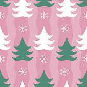 seamless christmas pattern background from white snowflake and pine tree