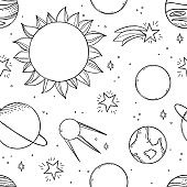 Space Background. Hand drawn vector illustrations. Ð¡osmic doodle seamless pattern with planets, stars, satellite. Solar system and universe