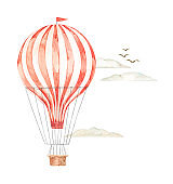 Hand drawn watercolor illustration - hot air balloon in the sky. Background with retro airship, clouds and birds. Perfect for baby prints, children posters, home decor, invitations etc