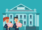 Business man and business woman with piggy bank. Saving and investing money concept