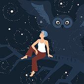 Vector image illustrating insomnia and similar psychological problems.