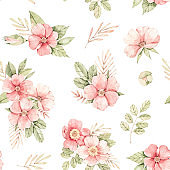 Watercolor botanical Seamless pattern. Background with pink dog-rose blossom (Gentle rose, bud, branches and green leaves). Perfect for wrapping paper, fabric, textile, wedding invitations, packing