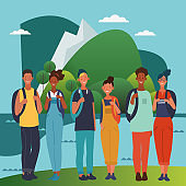 Young people with backpacks. Travel, vacation, holidays and adventure vector concept illustration. Eco friendly ecology concept. Nature conservation vector poster