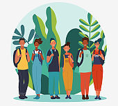 Young people with backpacks. Travel, vacation, holidays and adventure vector concept illustration. Summer landscape background. Eco friendly ecology concept. Nature conservation vector poster