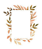 Hand drawn watercolor illustration. Frame with fall leaves. Forest design elements. Hello Autumn! Perfect for seasonal advertisement, invitations, cards