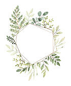 Hand drawn watercolor illustration. Botanical composition with gold frame, eucalyptus, branches, fern and leaves. Greenery. Perfect for wedding invitations, cards, prints, posters, packing